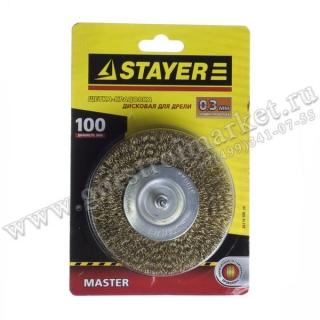 Щетка STAYER MASTER дисковая для дрели, проволока 0.3 мм, 100мм